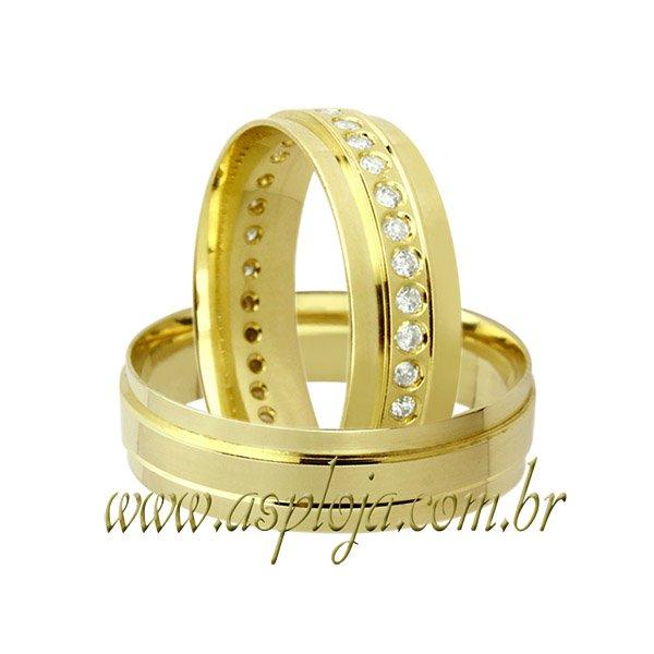Aliança cravejada de diamantes ouro amarelo 18K 750 anatômica largura 6,0mm-ASP-AL-62
