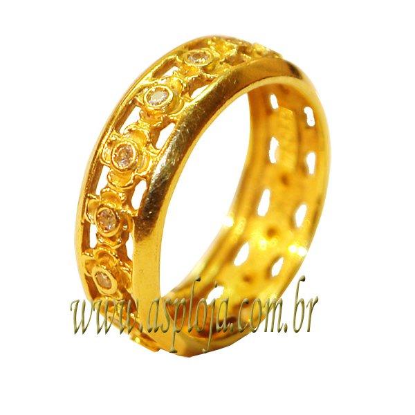 Aliança Portuguêsa de Noivado ou Casamento em ouro amarelo ou branco 18K-750-7.00 mm-ASP-AL44