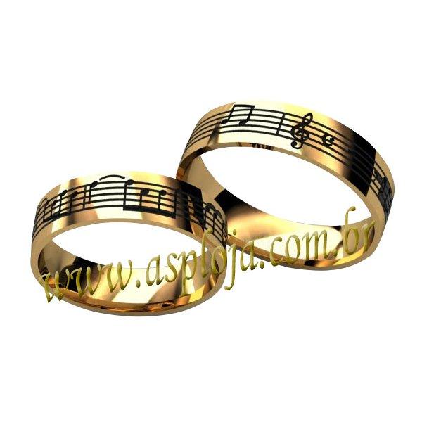 Aliança para os Amantes das Notas Musicais de Noivado ou Casamento em Ouro Amarelo ou Branco 18K-750-5.00mm-ASP-AL45
