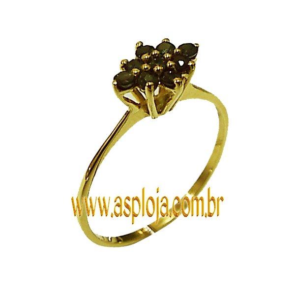 Anel Chuveiro de Ouro 18K Com 9 Pedras de Safira