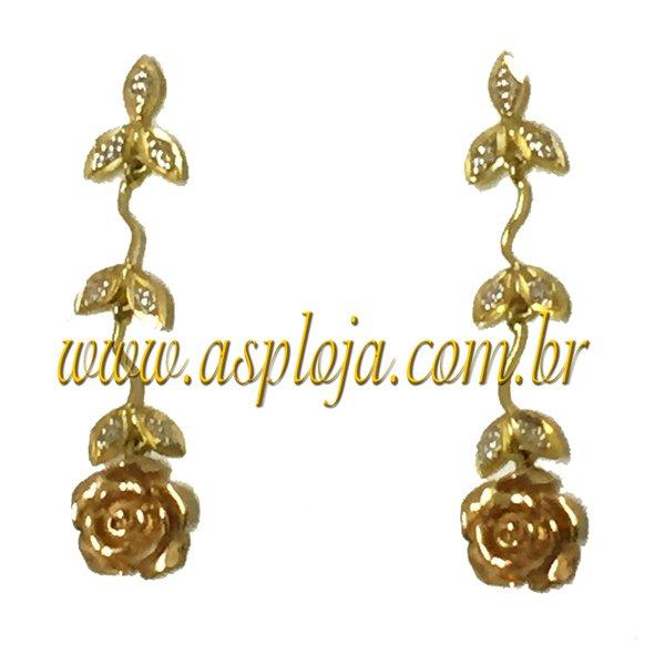 Brinco Galho de Rosa em Ouro amarelo 18k 750-ASP-BR12