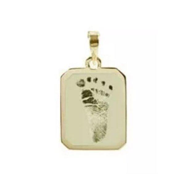 PG-28-Pingente de Ouro 18K Fotogravação Pezinho do Bebê
