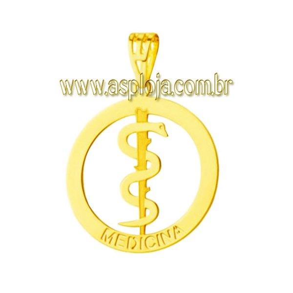 PG-30-Pingente em Ouro 18k de Formatura Simbolo de Medicina