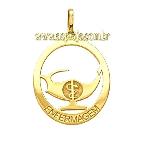 PG-31-Pingente em Ouro 18k de Formatura Simbolo de Enfermagem