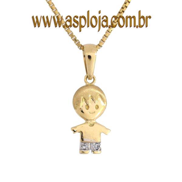 Pingente de Ouro 18K Menino Camiseta com Diamantes