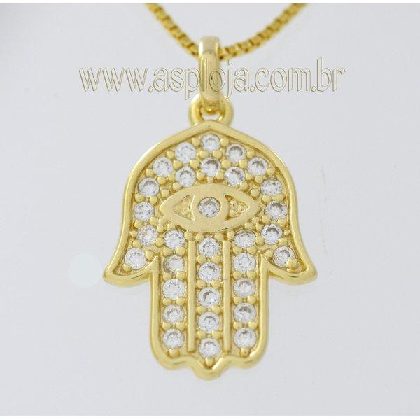 Pingente de Ouro 18K Mão de Fatima Com 32 Pedras de Zirconia