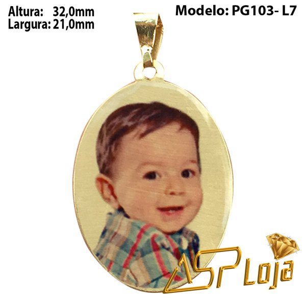 Pingente Fotogravação Ouro 18K Oval Borda Lisa PG103-L7