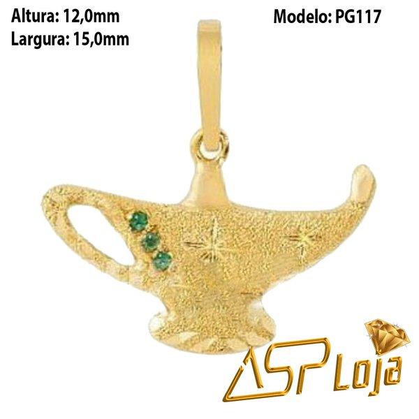 Pingente de Ouro 18K Lâmpada Mágica Com Esmeralda-PG117