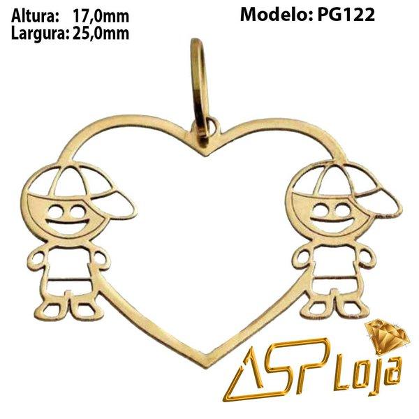 Pingente de Ouro 18K Coração Com Filhos-PG122