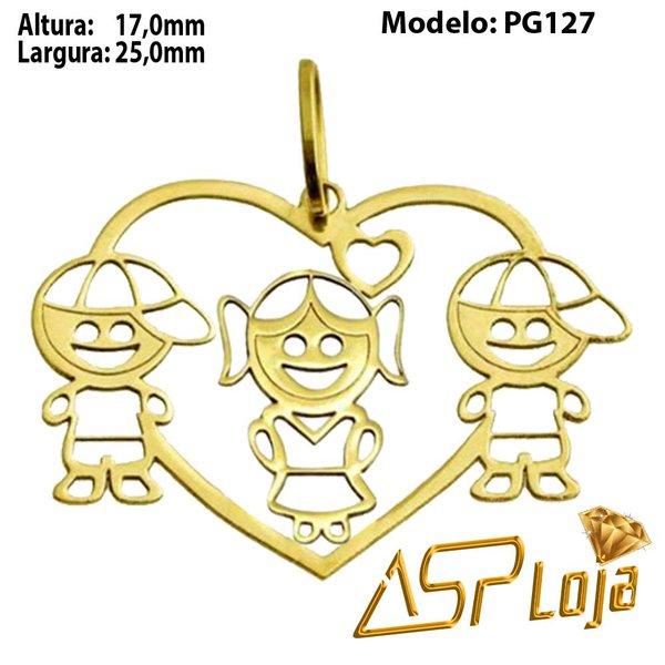 Pingente de Ouro 18K Coração 2 Meninos e Uma Menina-PG127