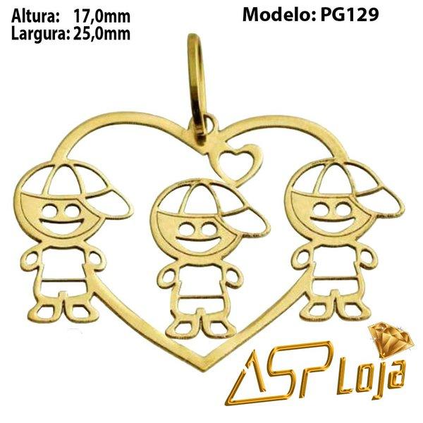 Pingente de Ouro 18K Coração 3 Filhos-PG129