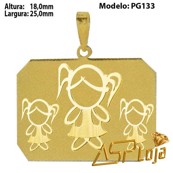 Pingente de Ouro 18K Placa Com 3 Meninas Alto Relevo-PG133