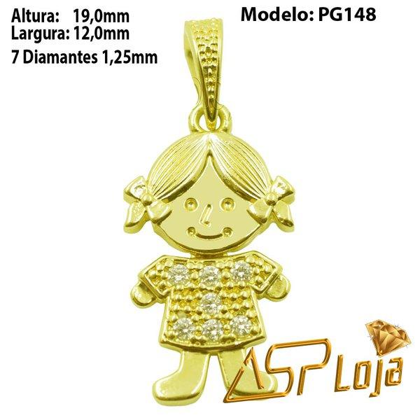 Pingente em Ouro 18k Menina de Trança-PG148