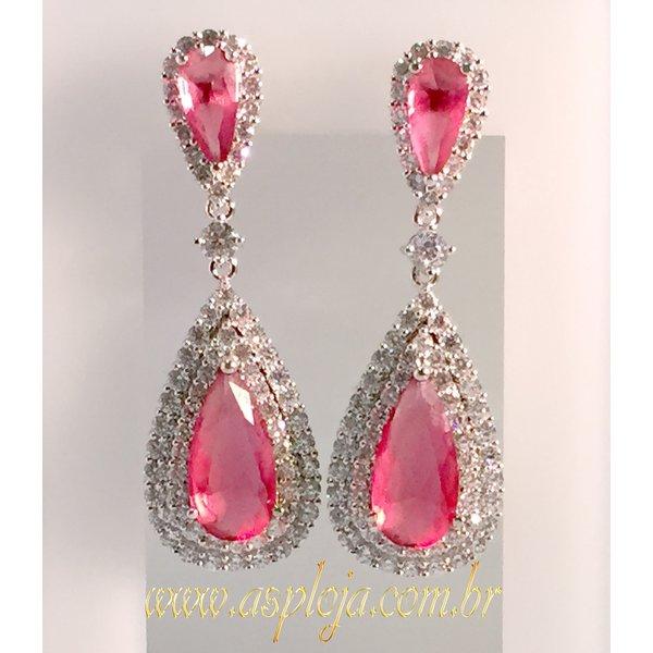 Brinco Cravejado de Zirconias com pedras gotas cor rosa tamanha 54.00mm altura x 18.00mm de largura-ASP-SJPH85