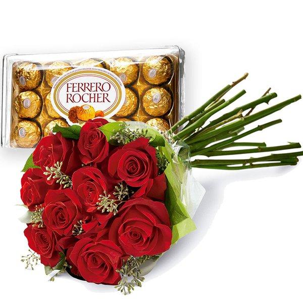 Buquê de Flores com Chocolates