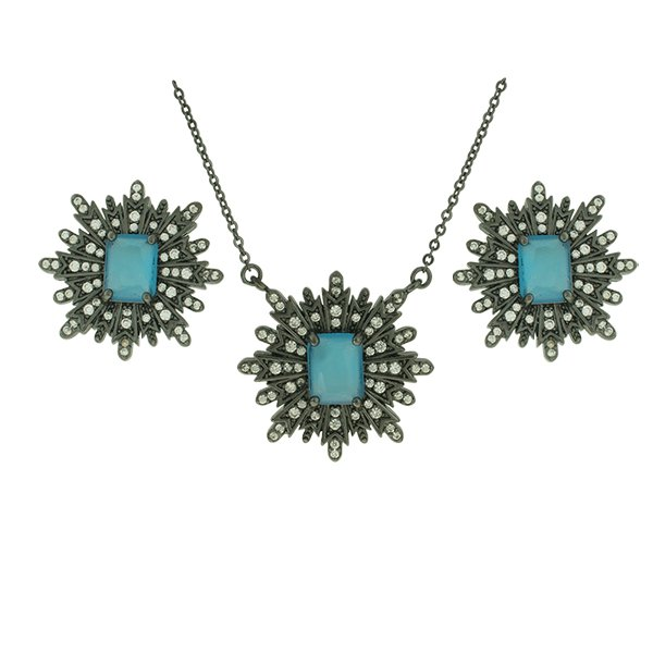 Conjunto Zirconia Lesprit Rodio Negro Cristal e Azul Leitoso