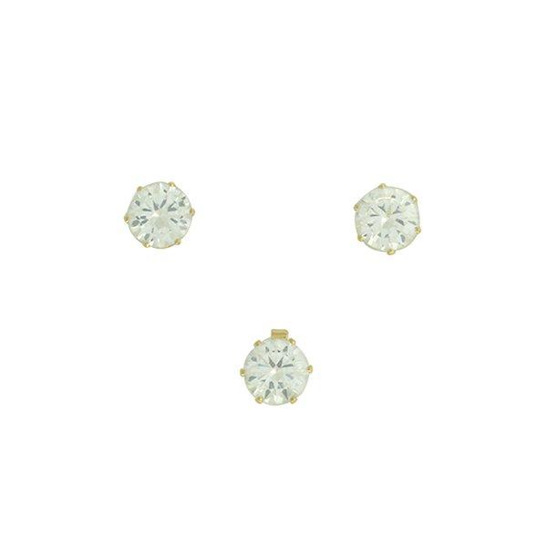 Conjunto Colar Ponto de Luz Zircônia Lesprit 6018 Dourado Cristal