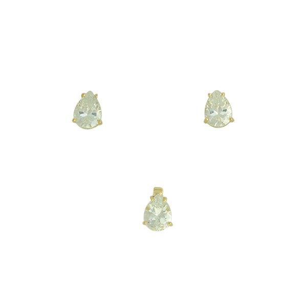 Conjunto Colar Ponto de Luz Zircônia Lesprit 6019 Dourado Cristal