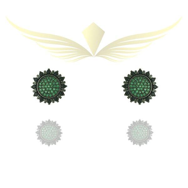 Brinco Zirconia Lesprit Rodio Negro Verde