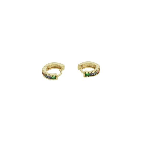 Brinco Argola Zircônia Lesprit U19K040181 Dourado Colorido