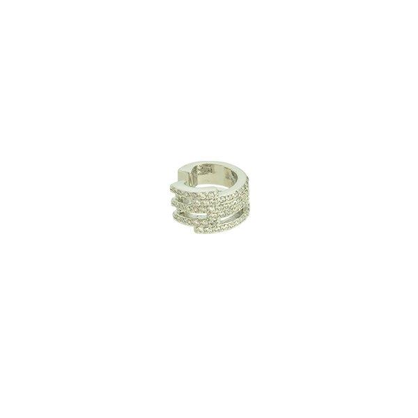 Brinco Piercing de Pressão Zircônia Lesprit LB14781CL Ródio Cristal