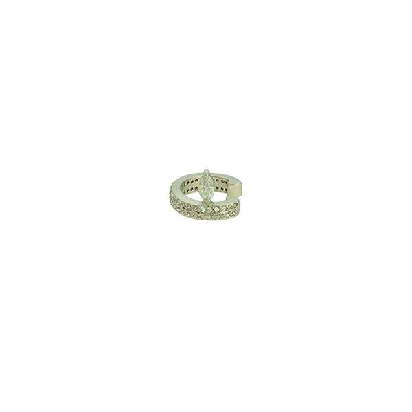 Brinco Piercing de Pressão Zircônia Lesprit LB15201 Ródio Cristal