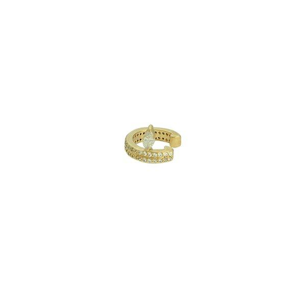 Brinco Piercing de Pressão Zircônia Lesprit LB15201GL Dourado Cristal