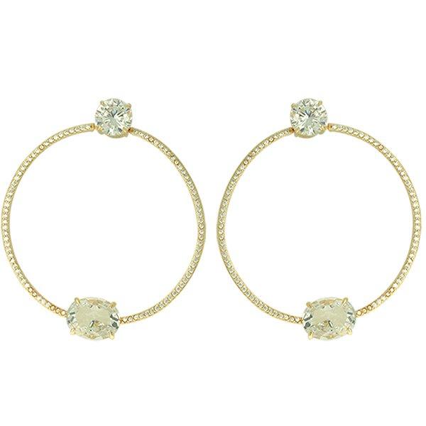 Brinco Argola Zircônia Lesprit LB15351WGL Dourado Cristal