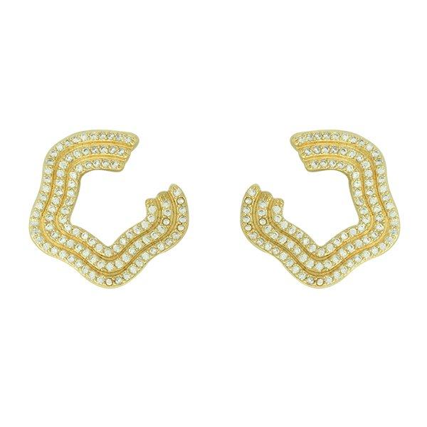 Brinco Zircônia Lesprit LB17361WGL Dourado Cristal