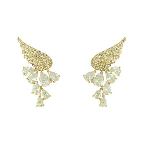 Brinco Zircônia Lesprit LB17441WGL Dourado Cristal