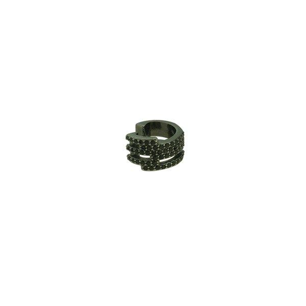 Brinco Piercing de Pressão Zircônia Lesprit LB14781BOBK Ródio Negro Preto