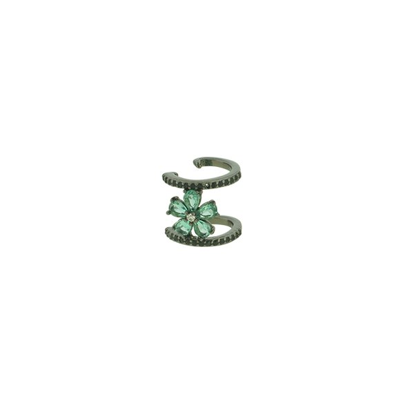 Brinco Piercing de Pressão Zircônia Lesprit LB09901 Ródio Negro Turmalina e Preto
