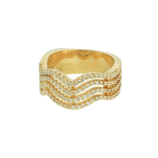 Anel Zircônia Lesprit LA06981WGL Dourado Cristal