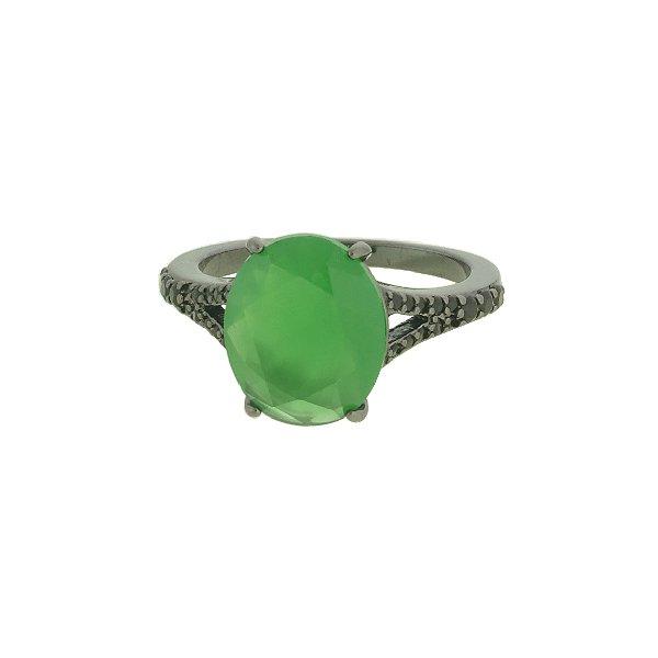 Anel Zircônia Lesprit LA05841BONGNBK Ródio Negro Verde Leitosa