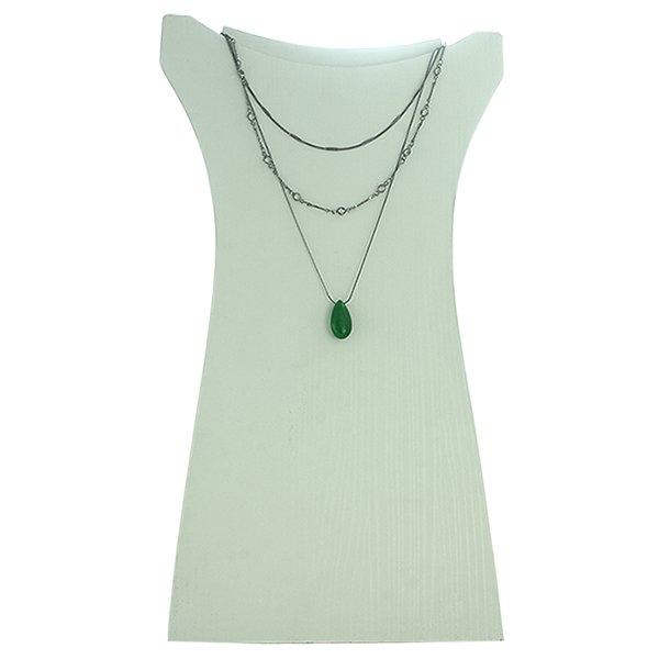 Colar Pedra Lesprit 90961 Ródio Negro Verde