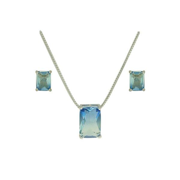 Conjunto Zirconia Lesprit U18A020041 Ródio Rainbow Azul e Turmalina