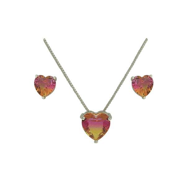 Conjunto Zirconia Lesprit U18A020021 Ródio Rainbow Rosa e Amarelo