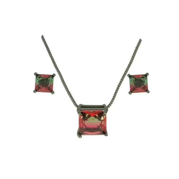 Conjunto Zirconia Lesprit U18A010261 Ródio Negro Rainbow Verde e Rubi