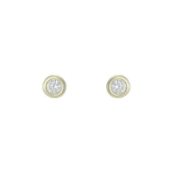Brinco Solitário Zircônia Lesprit 65003 Dourado Cristal