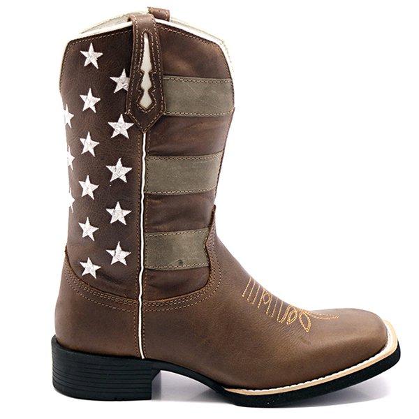 mirada detallada verse bien zapatos venta genuino mejor calificado Bota Texana Masculina Americana Envelhecida em Couro Legítimo Bico Quadrado
