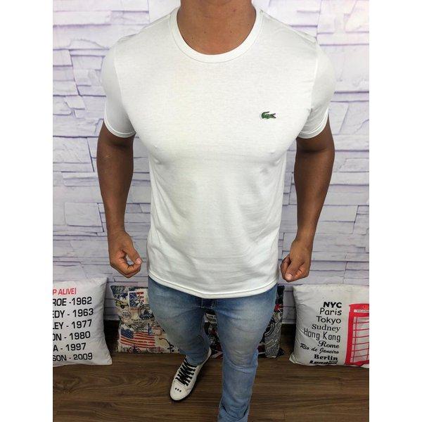 Camiseta Lacoste Lisa - Creme Logo Verde