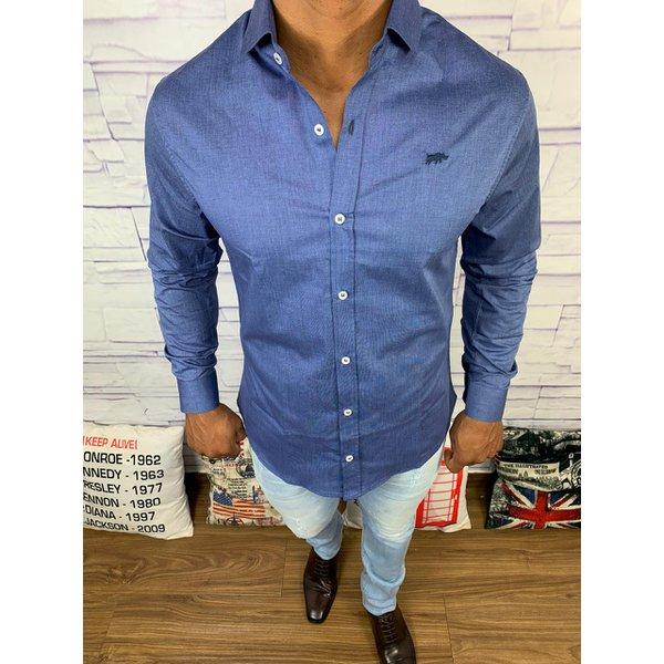 Camisa Social Dgraud - Manga Longa Azul