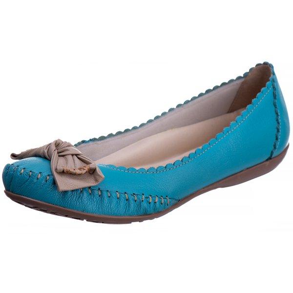 Sapatilha Canoa Couro Legítimo Feminino Azul