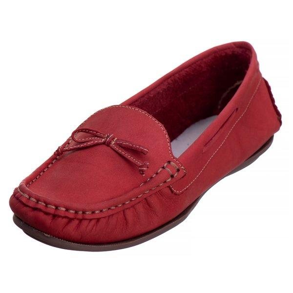 Sapato Mocassim Couro Legítimo Sola TR Vermelho