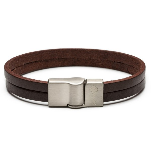 Pulseira Masculina Key Design Huerta Leather Brown