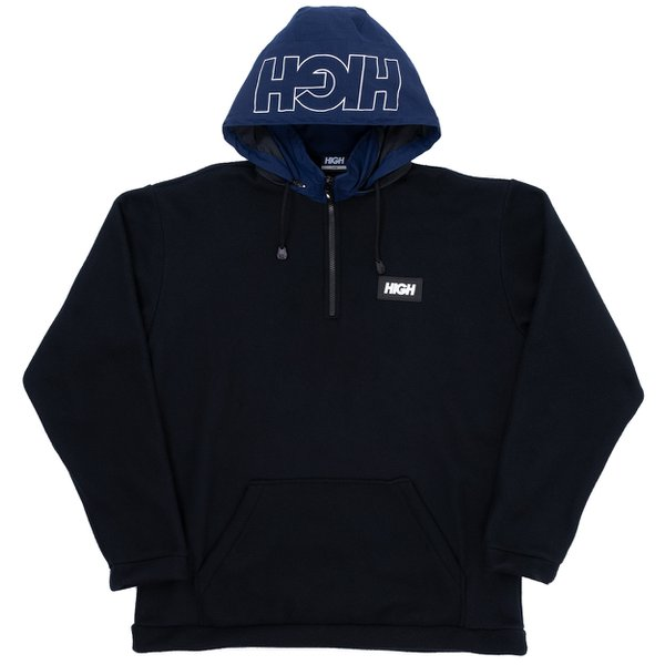 Quarter Zip Fleece High Black Blue