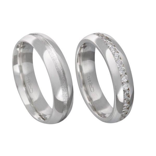 Alianças de compromisso em prata 950 tradicional e anatômica com pedras 5 mm