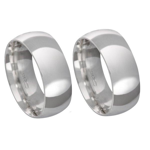 Alianças de compromisso em prata 950 tradicional e anatômica 8 mm