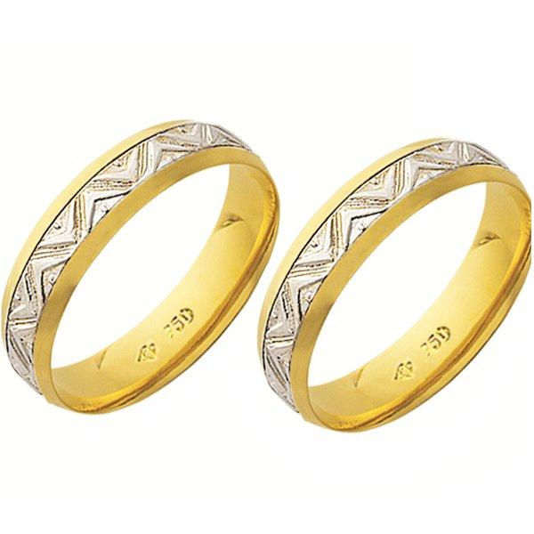 Alianças de casamento e noivado 2 tons em ouro 18k 750 trabalhada 5 mm