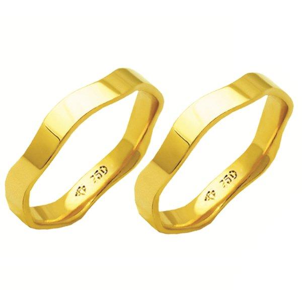 Alianças de casamento e noivado em ouro 18k. 750 anatômica 3.7 mm
